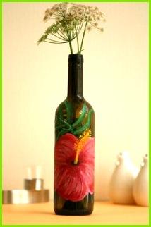 Weinflasche Flaschenvase Kerzenhalter handbemalte Flasche weinflaschen deko Sieh dir ses