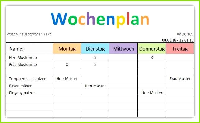 Wochenplan Excel Vorlage