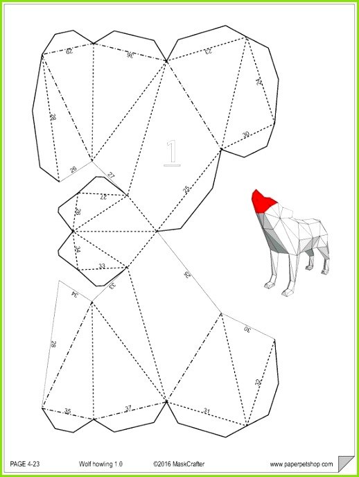 Howling Wolf Papercraft Template Instant