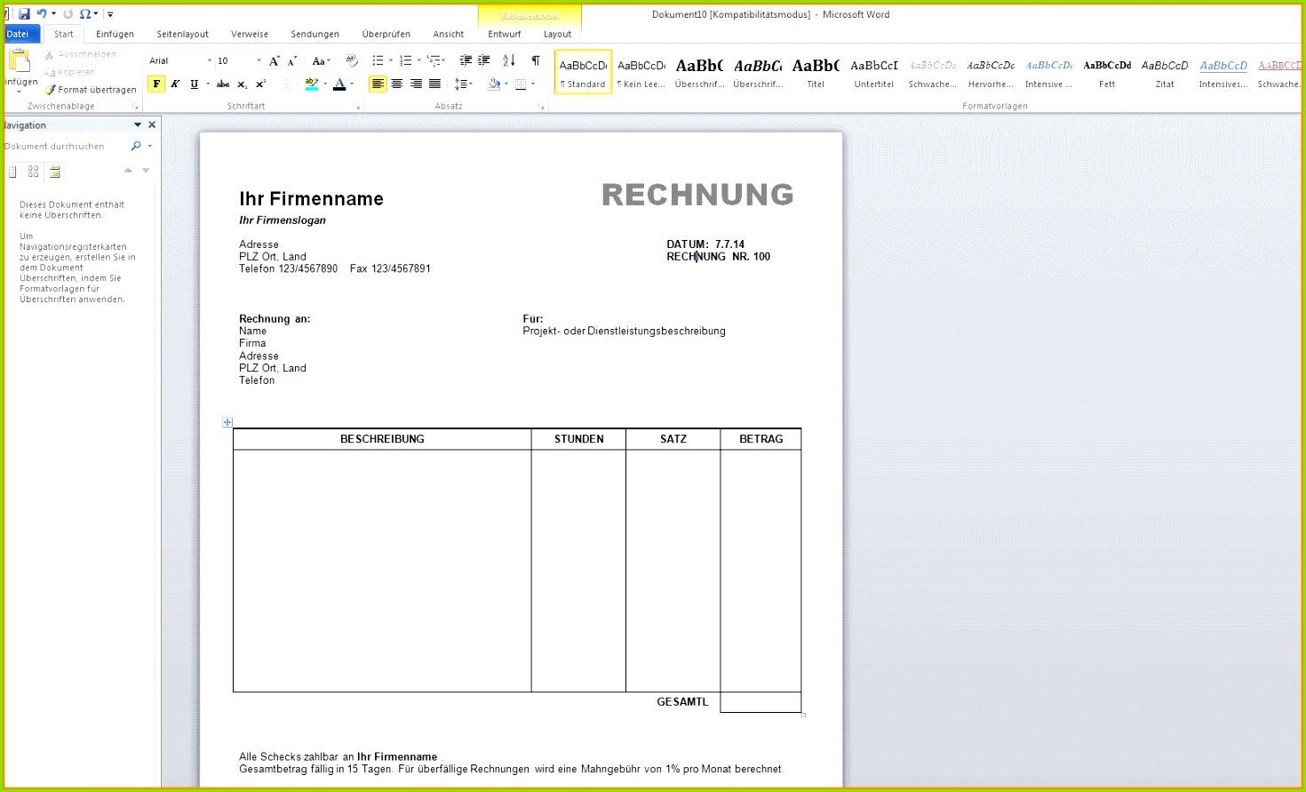 Word Visitenkarten Vorlage Blanko Schnste 4 Rechnung In Word mit Beste Word Visitenkarten Vorlage