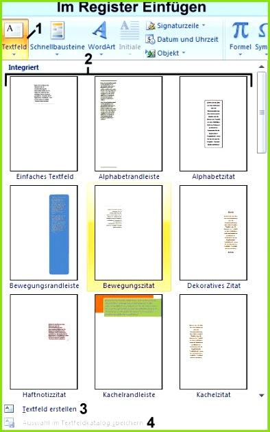 Textfeld erstellen Viele vorformatierte Textfelder in Word
