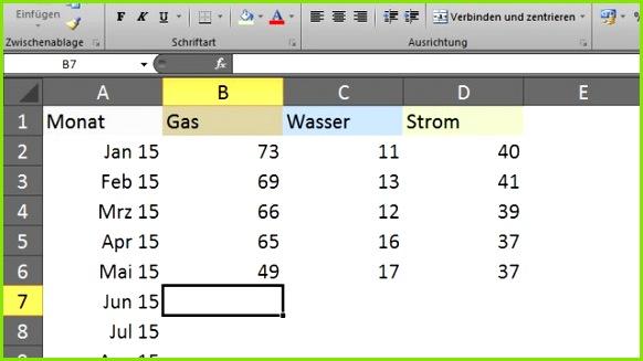 Zählerstand in Excel eintragen
