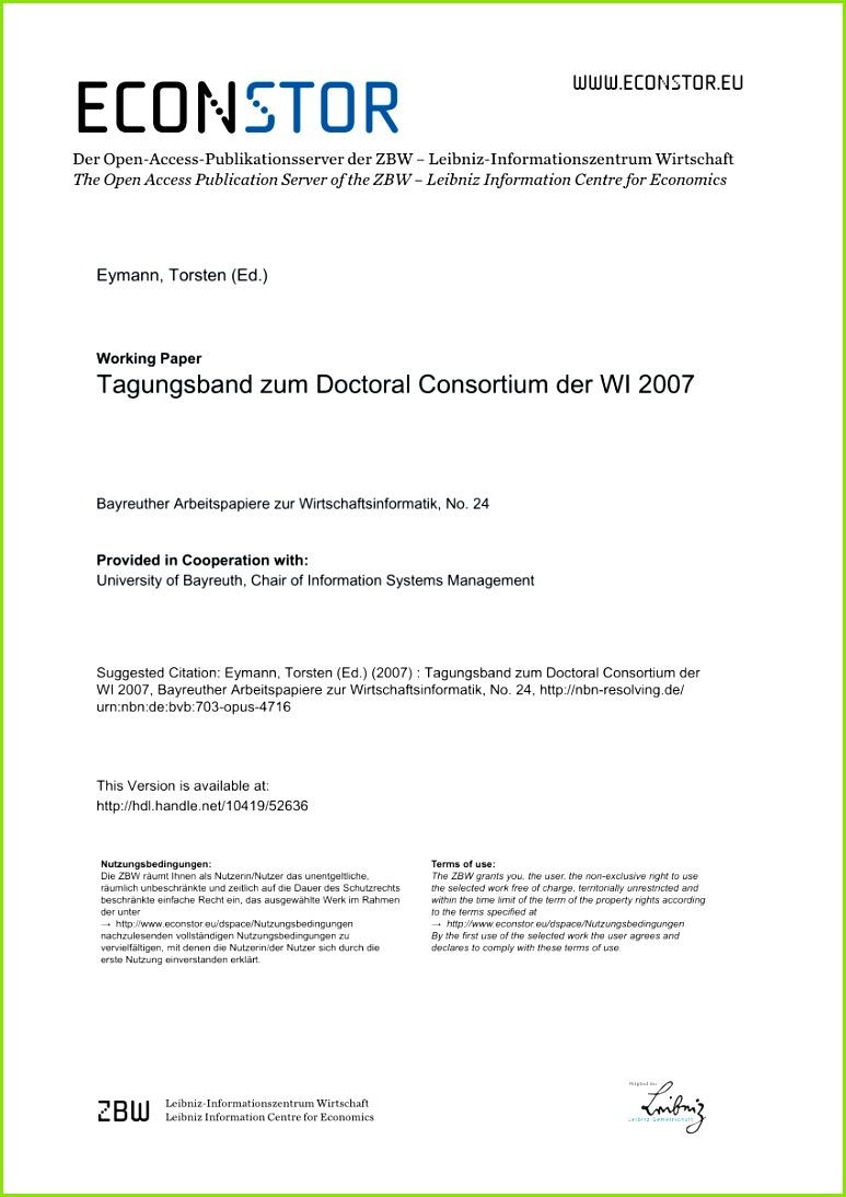 PDF Tagungsband zum Doctoral Consortium der WI2009