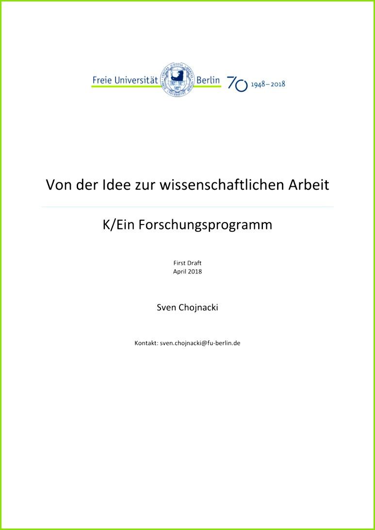 PDF Von der Idee zur wissenschaftlichen Arbeit K Ein Forschungsprogramm