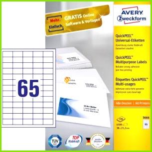 Avery Zweckform No 3666 univerzális 38 x 21 2 mm méretű fehér öntapad³