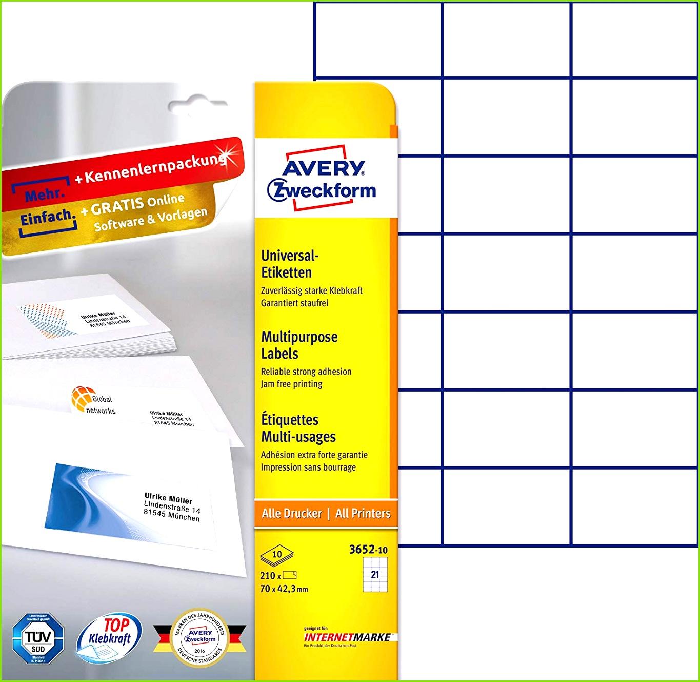 AVERY Zweckform 3652 10 Etiketten A4 Papier matt 210 Stück 70 x 42 3 mm 10 Blatt weiß Amazon Bürobedarf & Schreibwaren