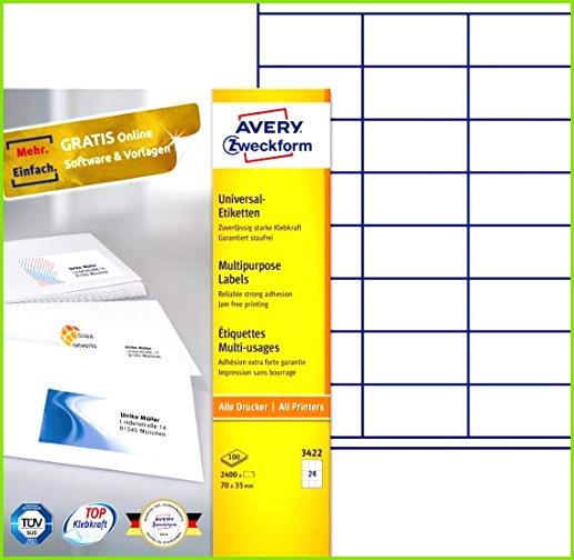 AVERY Zweckform 3422 Adressetiketten A4 Papier matt 2 400 Etiketten 70 x 35 mm 100 Blatt weiß Amazon Bürobedarf & Schreibwaren