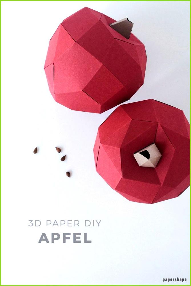 Apfel Herbstdeko basteln aus Papier in 3d mit kostenloser Vorlage PaperShape diy papershape herbstdeko