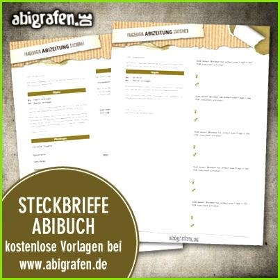 Kostenlose Vorlage zum erstellen von Steckbrief Abibuch