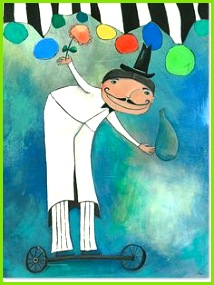 Herr Zauberrad aus der Acrylbilder Serie Bilder für Königskinder Acrylbilder für Mädchen und Jungen von 0 – 10 Jahre Atelier Sonja Mengkowski