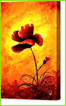Art Canvas Print featuring the painting Red Poppy 012 by Edit Voros Mohn Abschluss