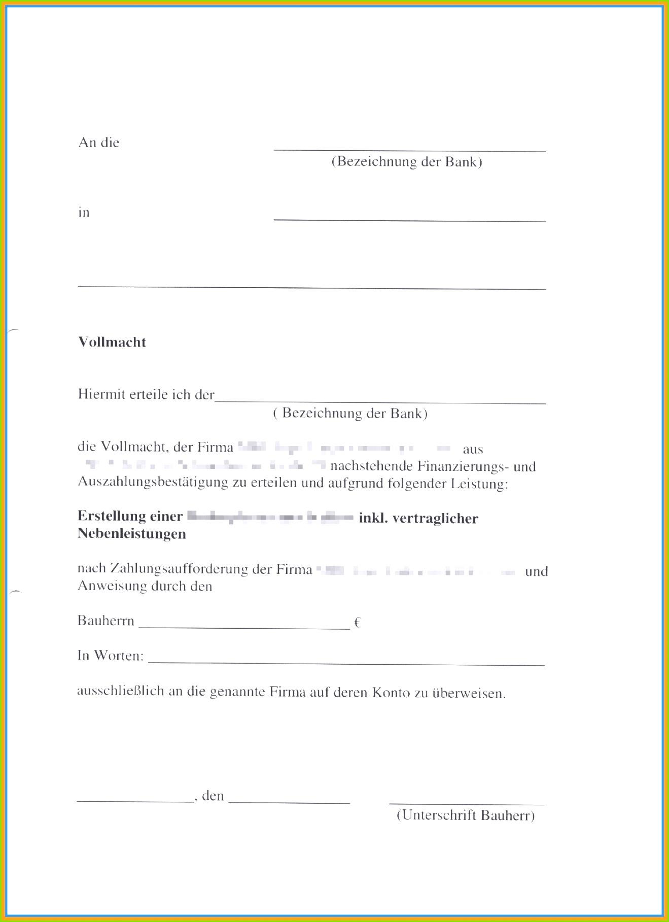 Vollmacht Vorlage Word Schön Vollmacht Bank Muster