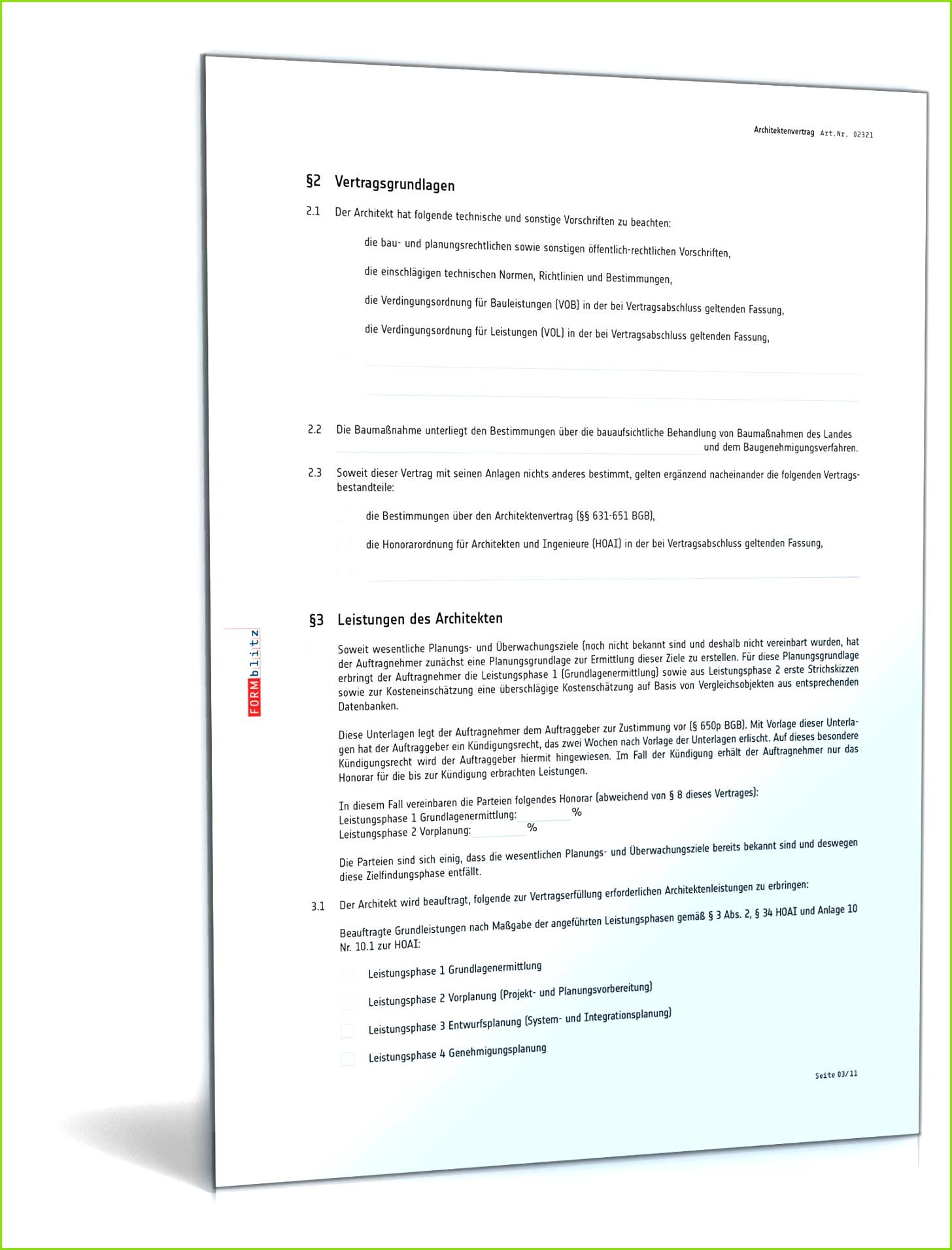 Architektenvertrag Vorlage