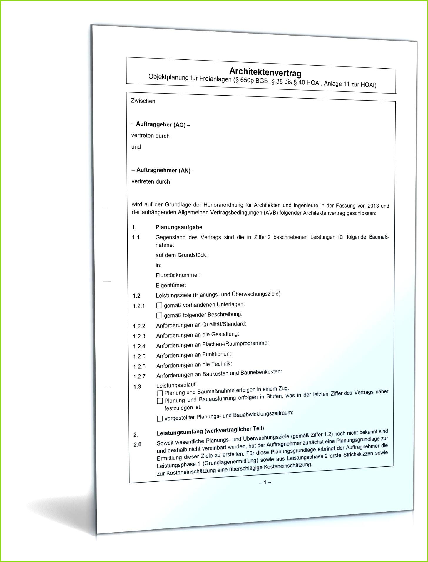 Architektenvertrag Objektplanung Freianlagen