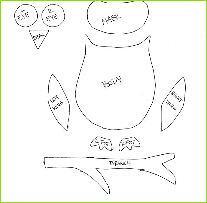 Eule Bastelvorlage Körperteile ausdrucken und als Schablone verwenden Mehr