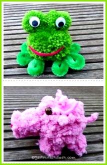 Frosch und Schwein aus Pompons basteln Pompons Basteln Basteln Mit Wolle Bastelei Frosch