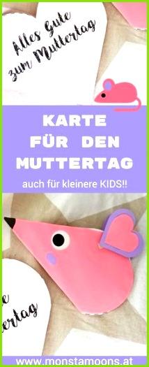 Mega einfache Muttertagskarte für kleinere Kids mit Vorlage