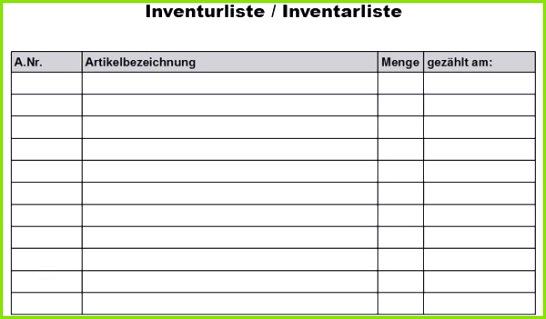 Inventarliste Vorlage Muster Angenehm Inventurliste Pdf Vorlage