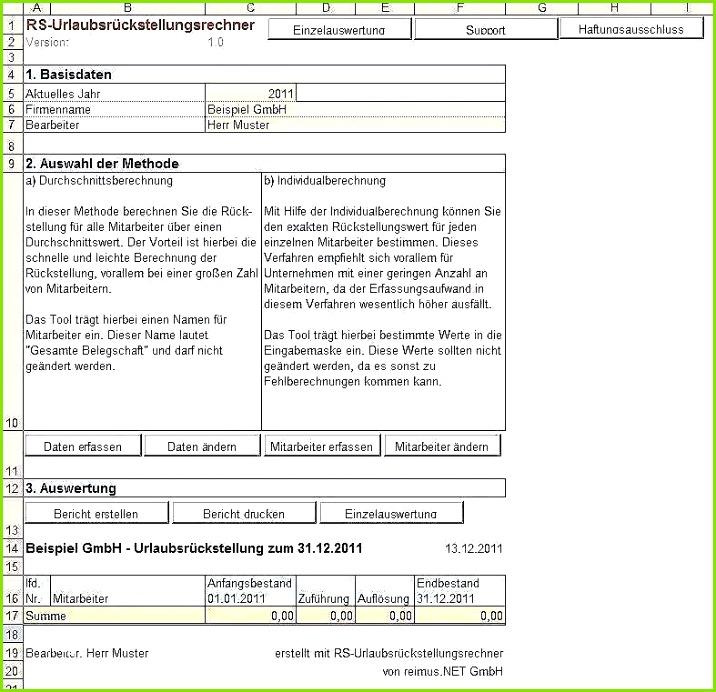Beffe Berechnung Vorlage Elegante Excel Vorlage Zur Berechnung Von Urlaubsrückstellungen