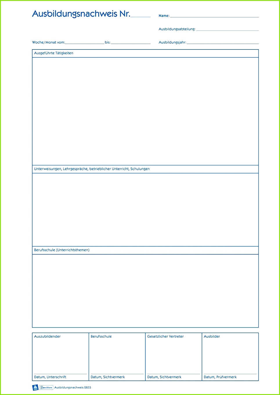 Avery Zweckform 2833 Ausbildungsnachweis DIN A4 Blockform 28 Berichtsheft Vorlage