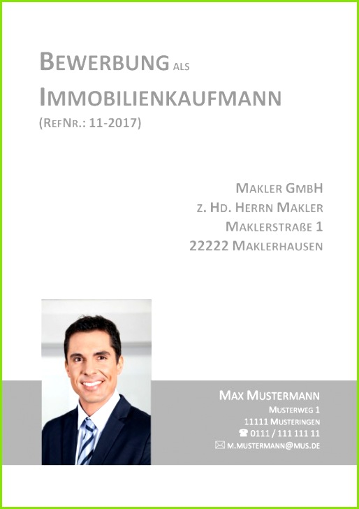 Deckblatt Vorlage für Immobilienkaufmann Immobilienkauffrau Bankkauffrau oder Bankkaufmann Finanzfachwirt in