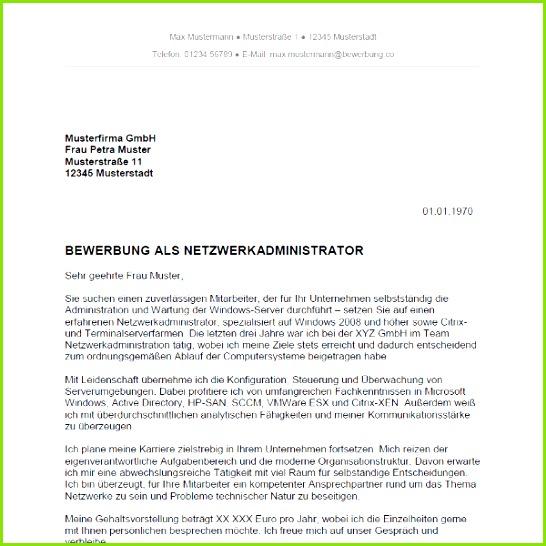 Muster Vorlage Bewerbung als Netzwerkadministrator Netzwerkadministratorin