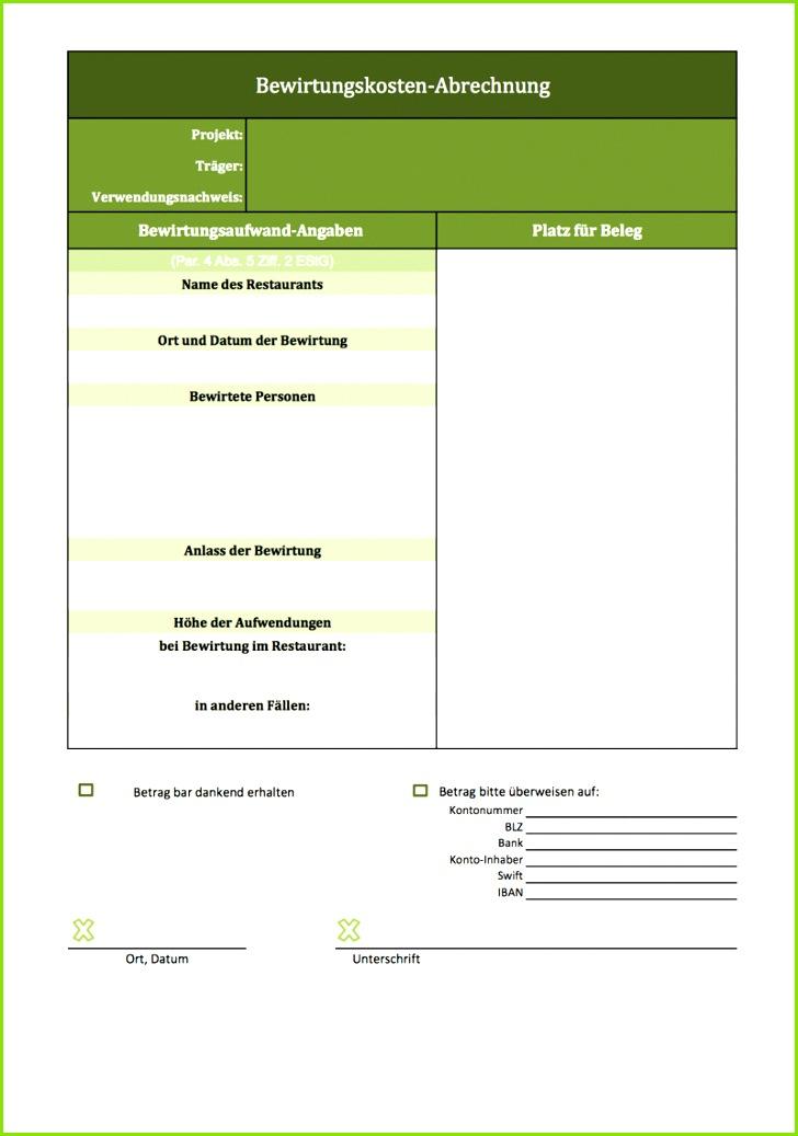 Screenshot der Excel Vorlage Bewirtungskostenabrechnung