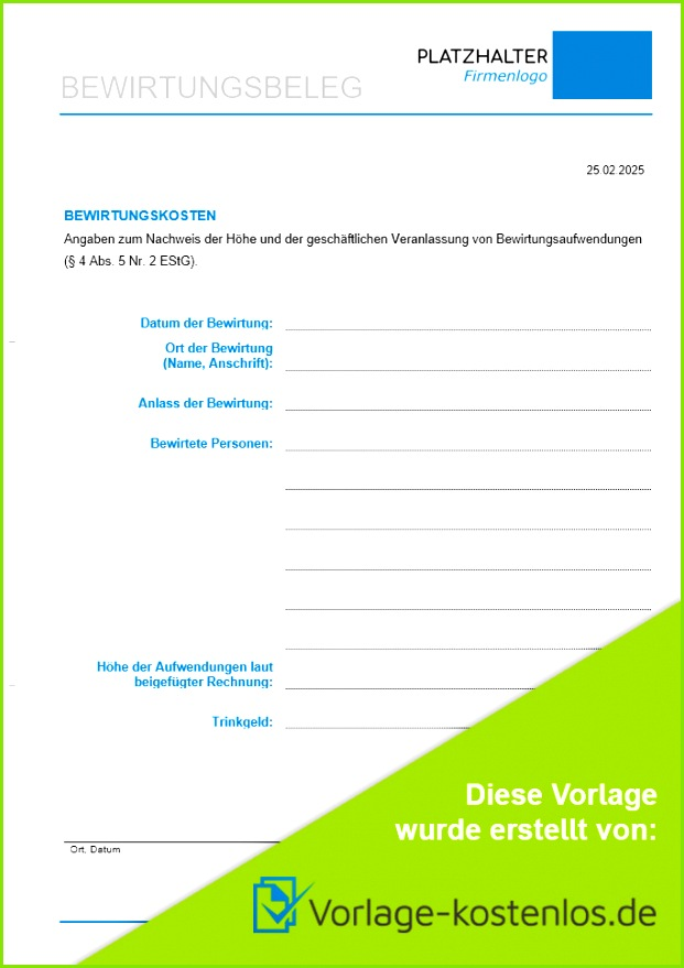 Bewirtungsbeleg Muster Beispiel & Vordruck zum Download von vorlage kostenlos