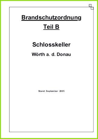 Brandschutzordnung Teil B Schlosskeller Landkreis Regensburg