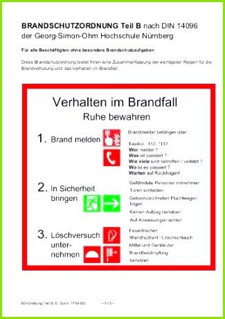 brandschutzordnung teil b georg simon ohm hochschule