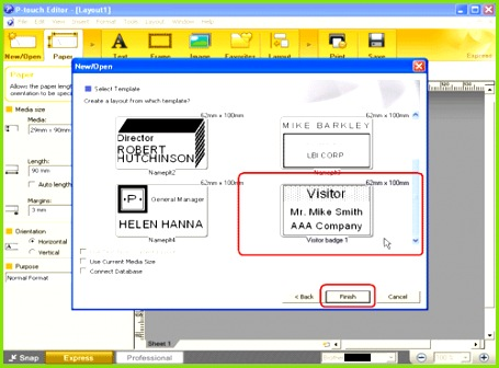 A list of templates for the selected category appears Select a template and click the Finish button