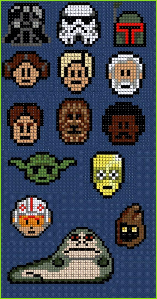 Star Wars broderier definitely going to have to make these into ornaments for my nephes at Christmas this year Every single one is a star wars fan…