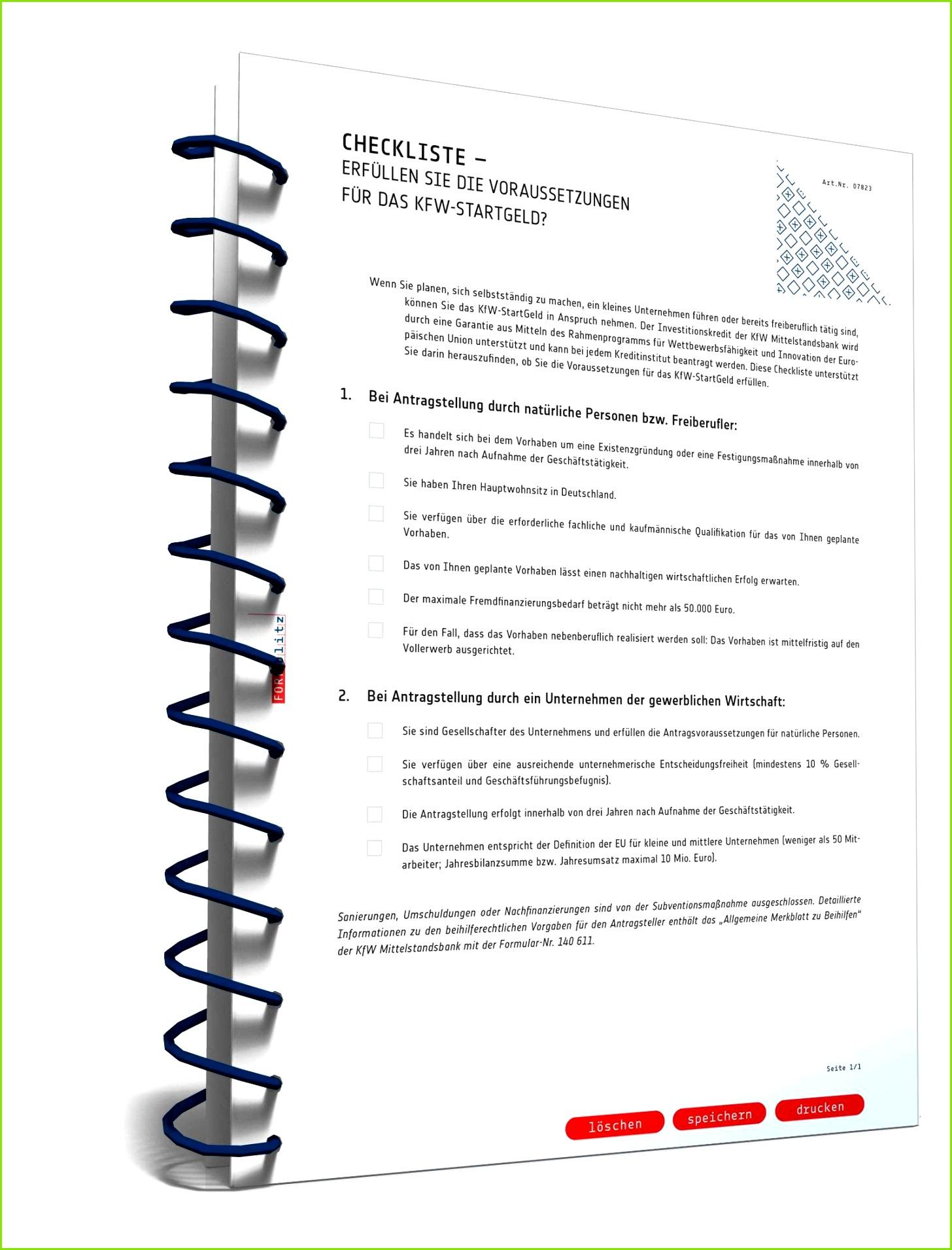 Checkliste KfW StartGeld