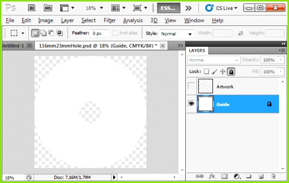 open cd template in photoshop