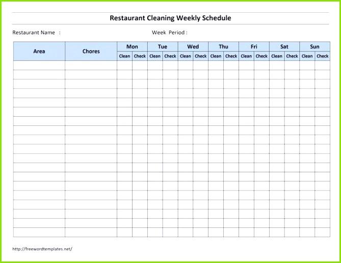 Charmant Restaurant Reinigung Checkliste Vorlage Zeitgenössisch