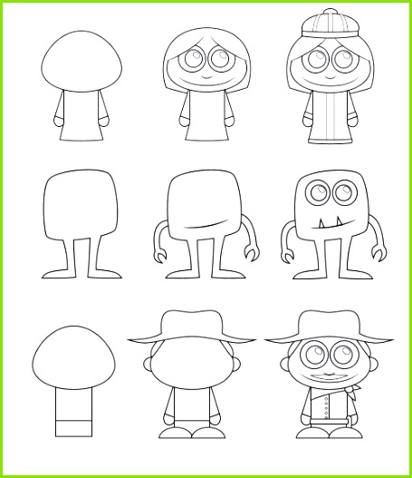 Learn how to draw cartoon characters that are cute and made from simple basic elements How to draw cartoon characters – ic Zeichnen Vorlagen