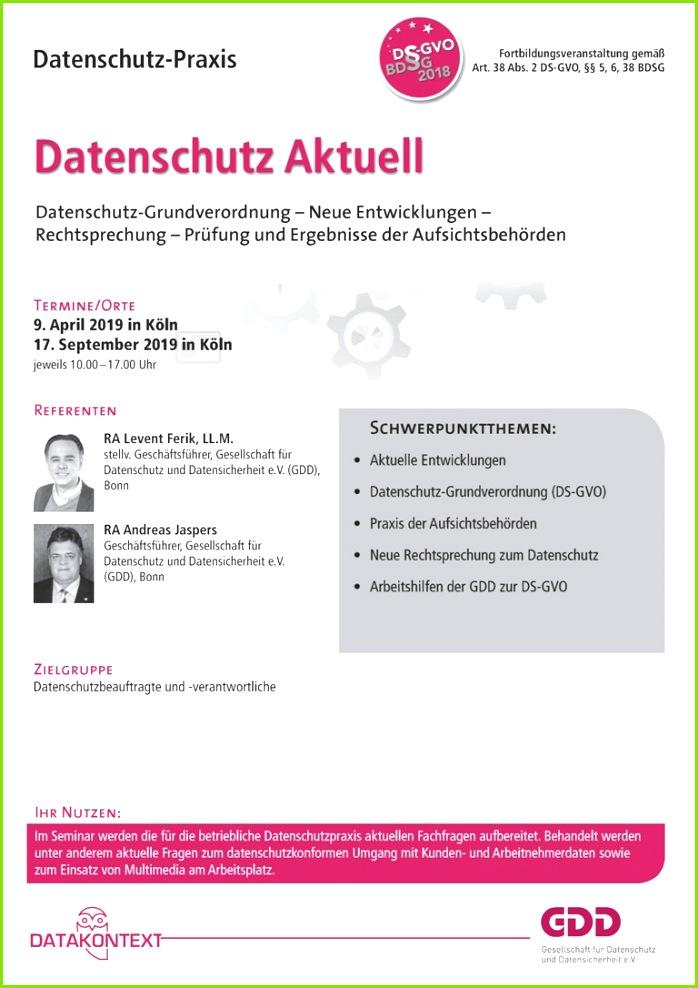 Datenschutz Aktuell Seminare RDV line