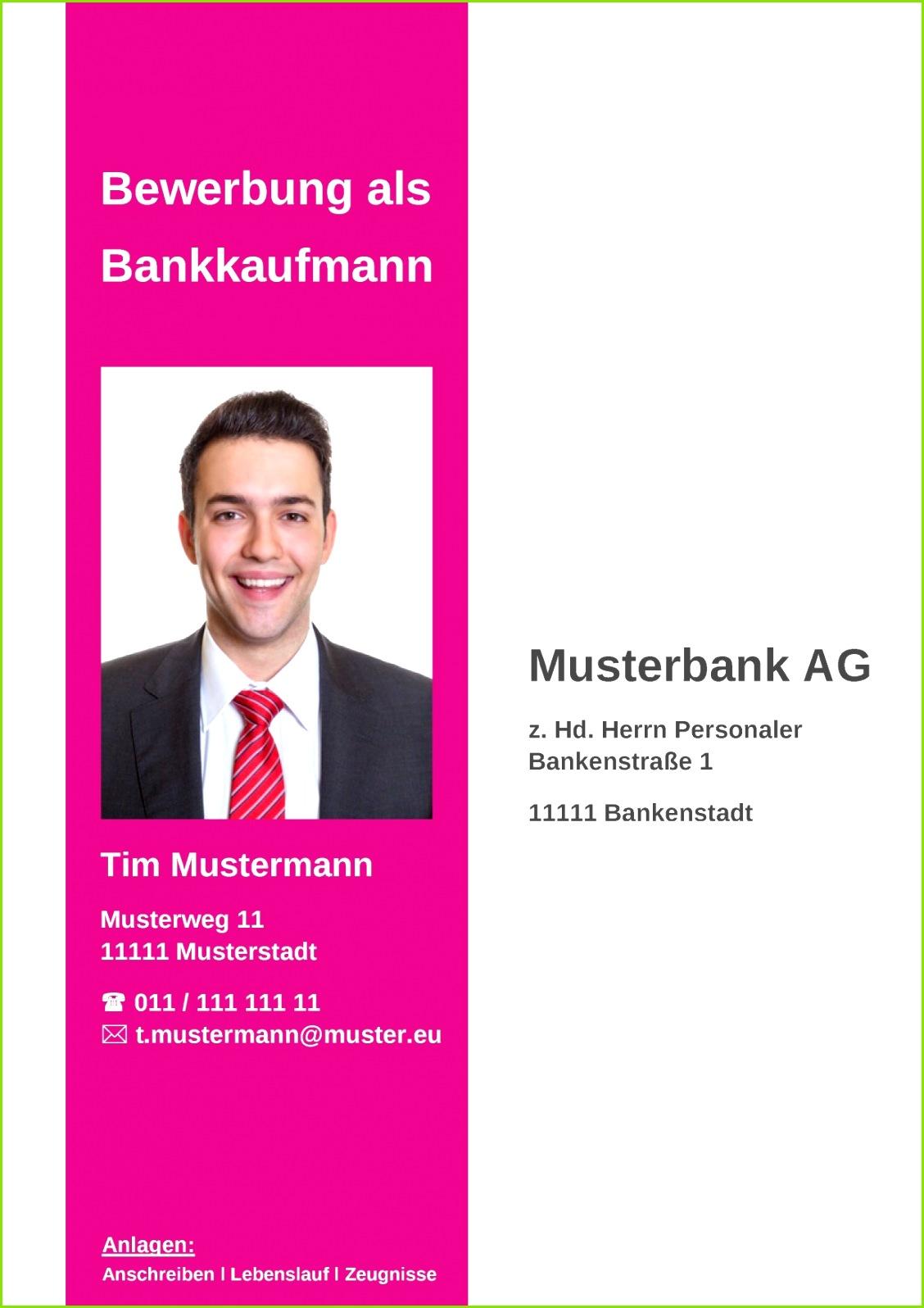Deckblatt Bewerbung 07 Bewerbungsdeckblatt für Bankkaufmann oder Bankkauffrau