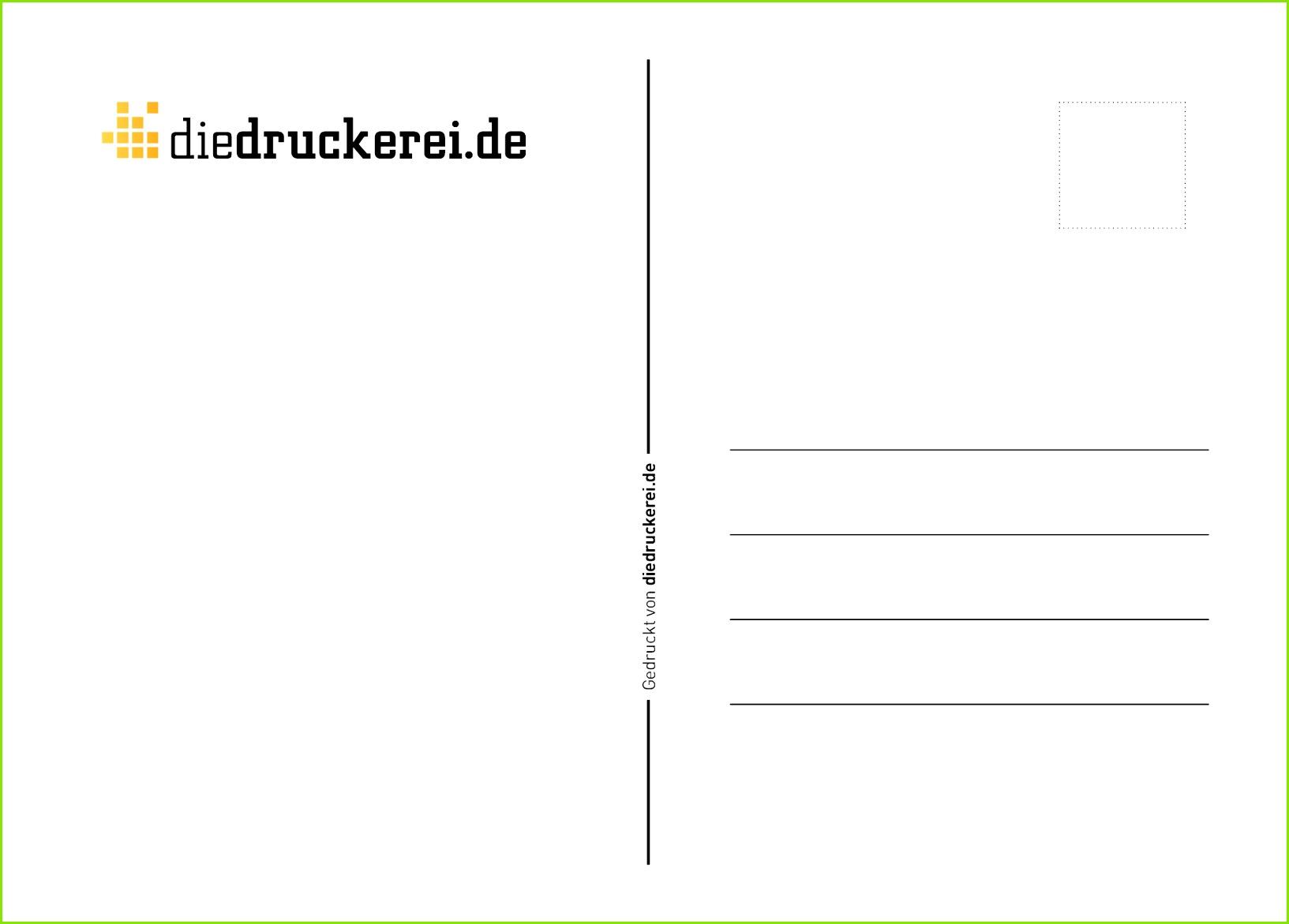 Postkarte Rückseite DIN A6 Vorlage Variante1 clear druckereide