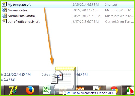 Pin the template to context menu on your Outlook icon