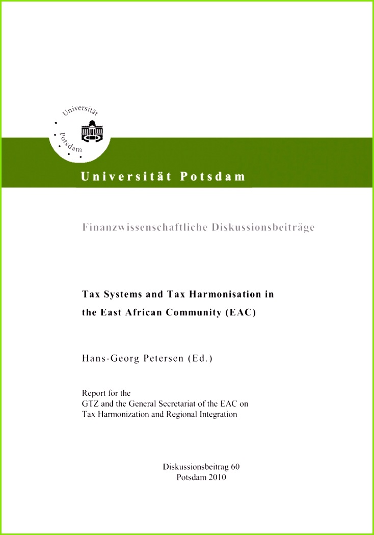 PDF Tax systems and tax harmonisation in the East African munity EAC Report for the EAC