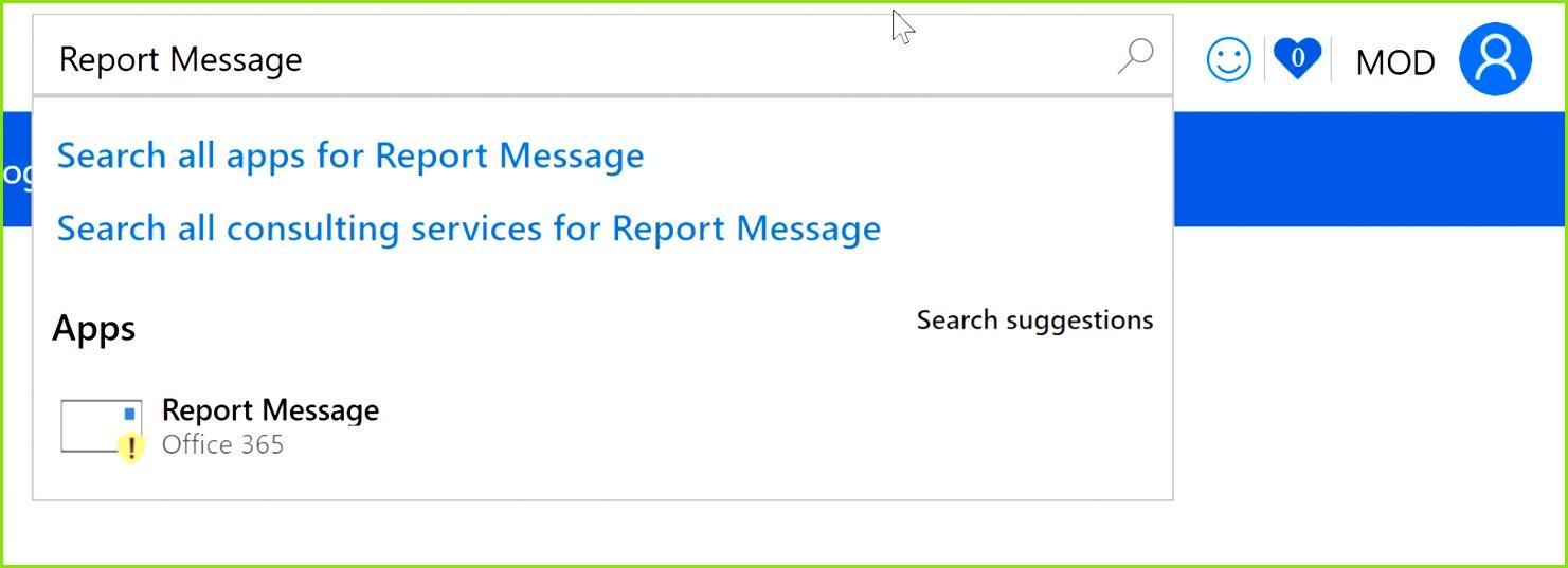 Suchen nach einer Berichtnachricht Aktivieren des Berichtsnachrichts Add Ins Eac Zeichen Vorlage