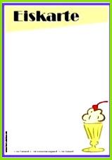 Vorlage Speisekarte Eiskarte