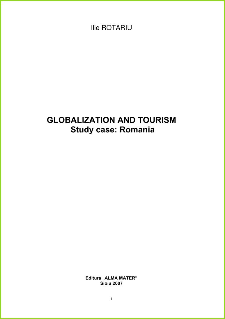 PDF Globalizare si turism studiu de caz Romania