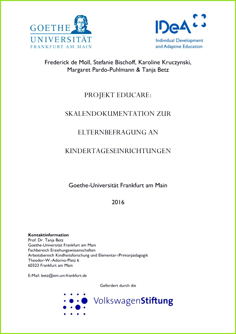 Elternbefragung Kita Vorlagen Neu Pdf Projekt Educare Skalendokumentation Zur Elternbefragung In