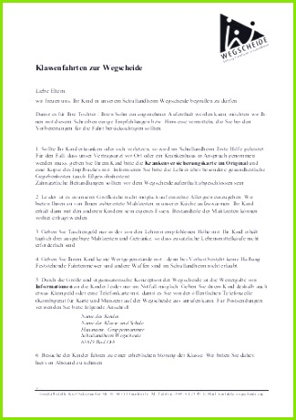 Elternbrief Klassenfahrt 2012 Schullandheim Wegscheide