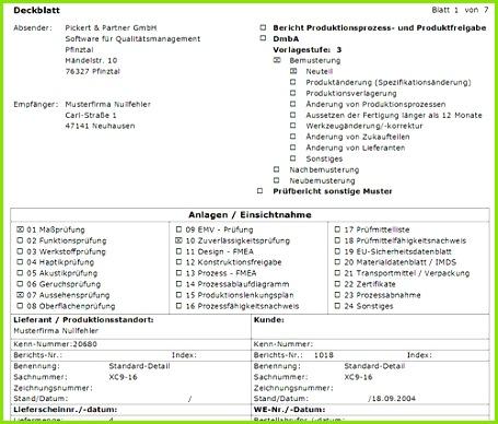 Erstmusterprüfbericht nach VDA 2 Auflage 4 in CAQ2GO