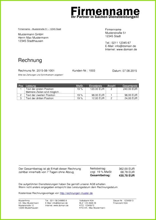 Kleinunternehmer Rechnungsvorlage · Rechnung Kleinunternehmer Vorlage Openoffice Rechnung Schreiben