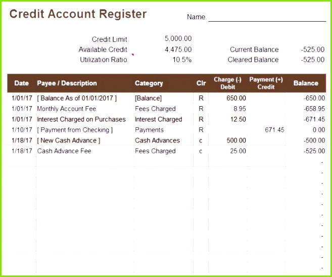 Download a free credit account register template for Excel to keep Guv Vorlage Bilanz Vorlage Excel