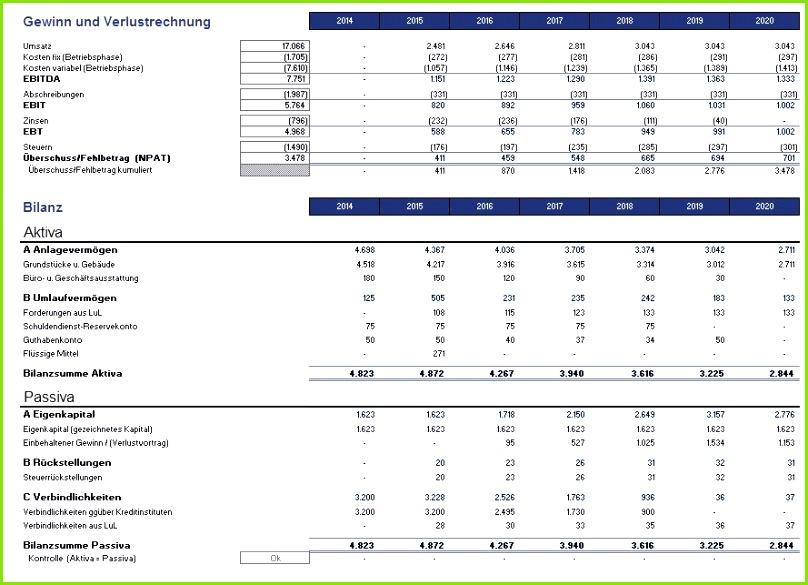 Excel Projektfinanzierungsmodell mit Cash Flow GuV und Bilanz Großzügig Vorlagen